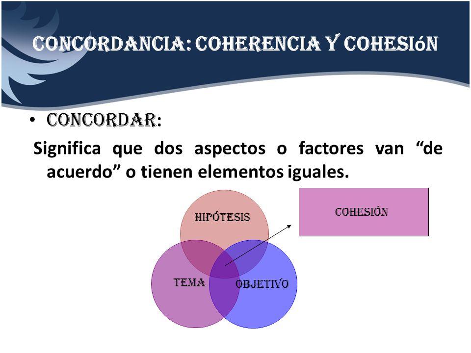 Concordancia: coherencia y cohesi ó n CONCORDAR : Significa que dos aspectos o factores van de acuerdo o tienen elementos iguales. Hipótesis tema Obje