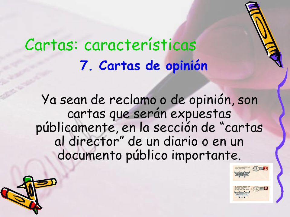 Cartas: características 7.