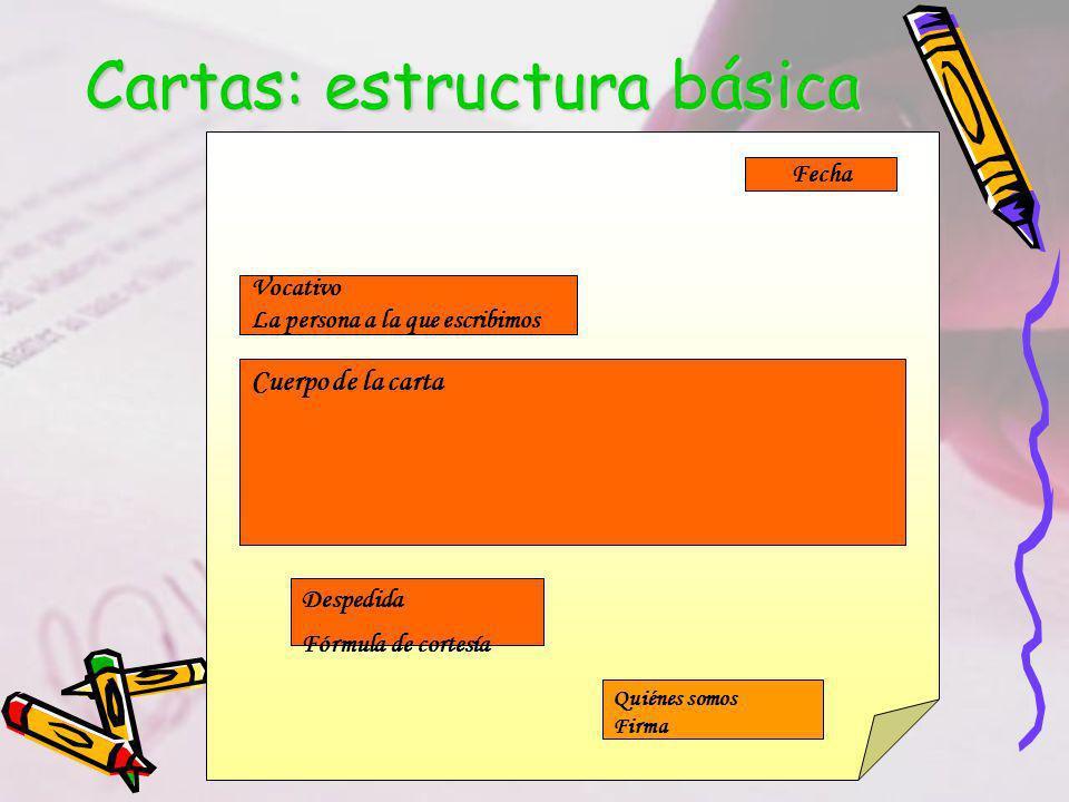 Cartas: estructura básica Fecha Vocativo La persona a la que escribimos Cuerpo de la carta Despedida Fórmula de cortesía Quiénes somos Firma