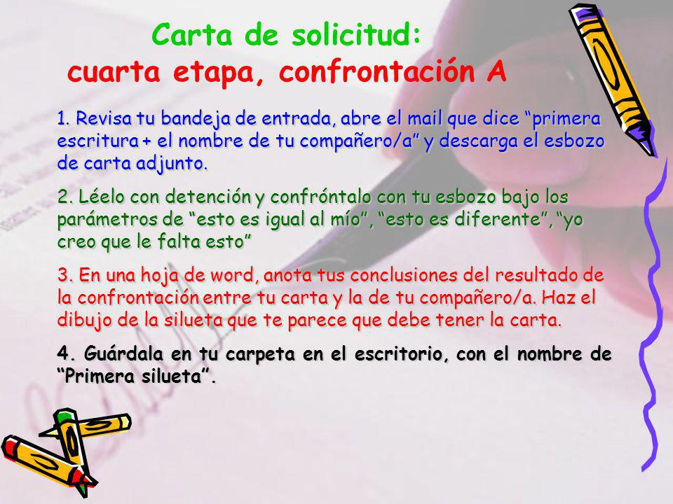 Carta de solicitud: cuarta etapa, confrontación A 1.