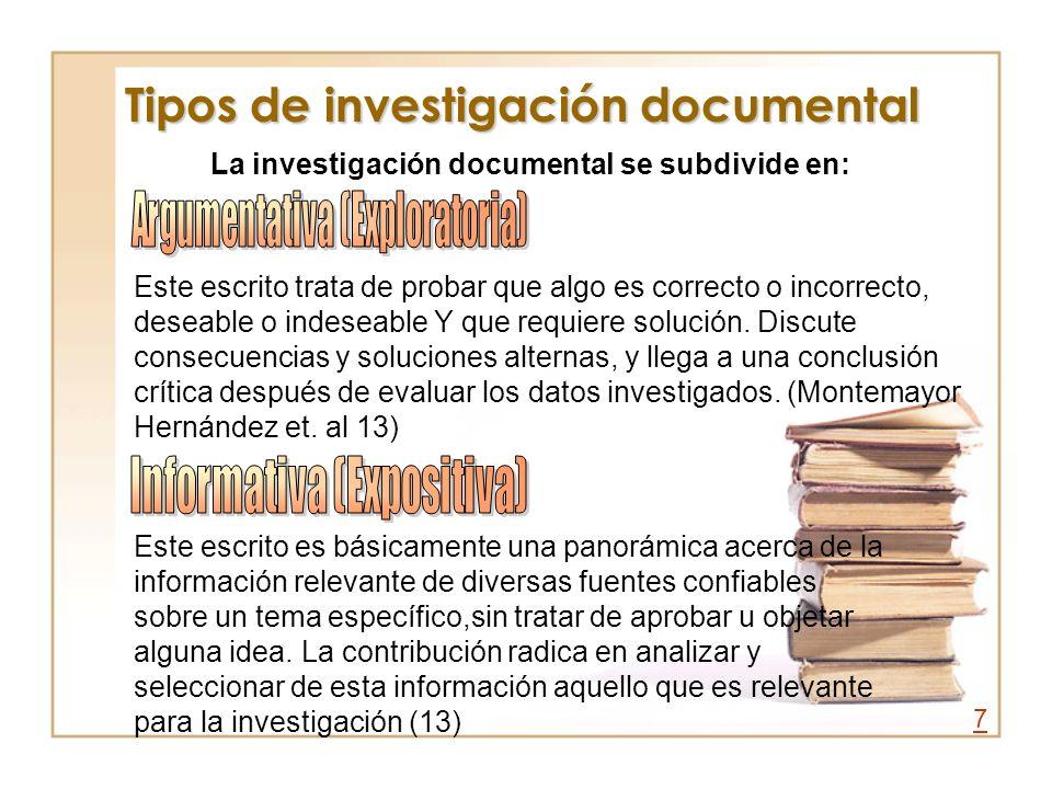 Tipos de investigación documental La investigación documental se subdivide en: Este escrito trata de probar que algo es correcto o incorrecto, deseabl