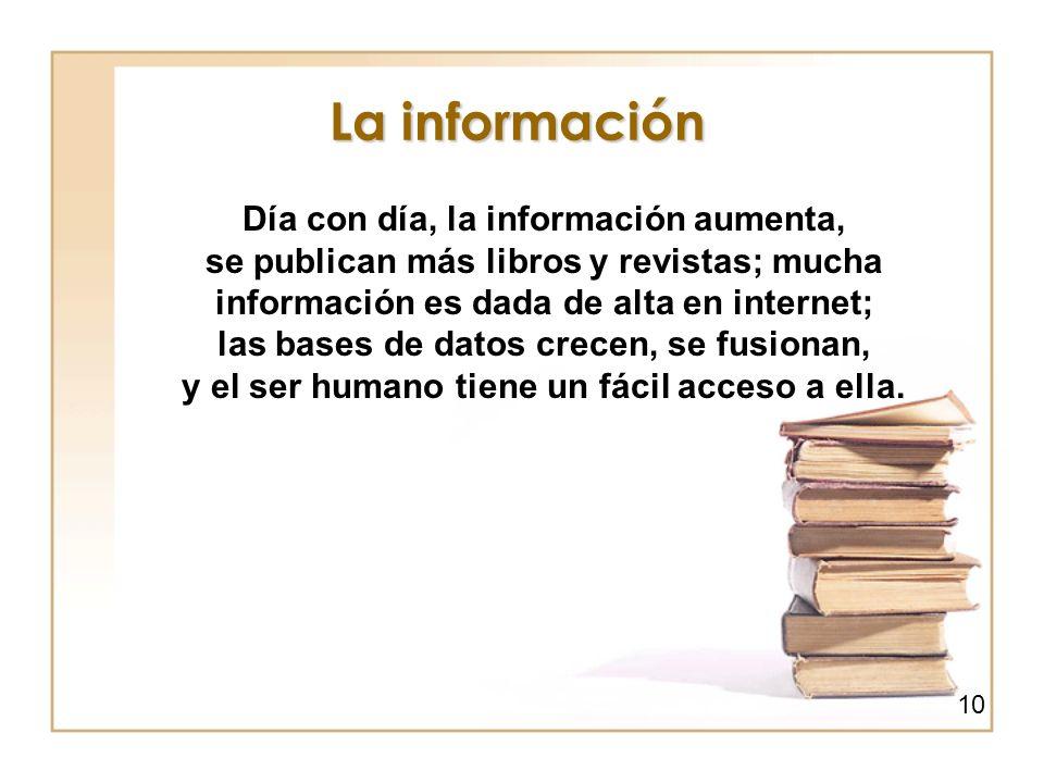 La información Día con día, la información aumenta, se publican más libros y revistas; mucha información es dada de alta en internet; las bases de dat