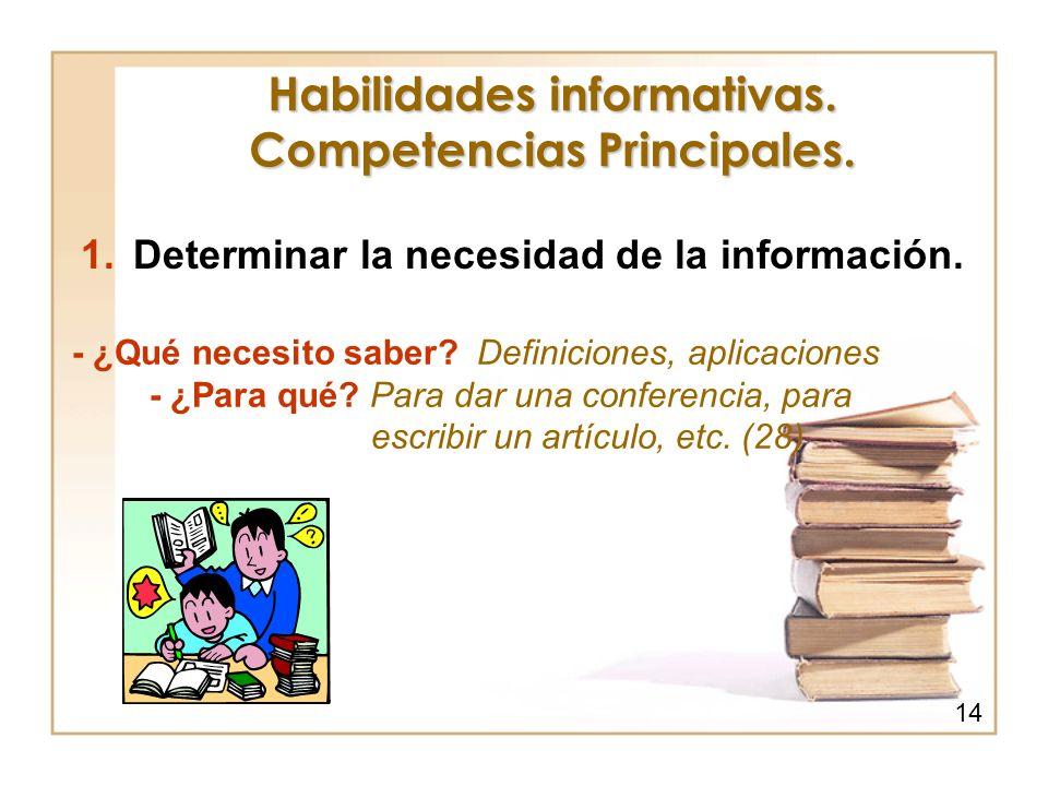 Habilidades informativas. Competencias Principales. 1.Determinar la necesidad de la información. - ¿Qué necesito saber? Definiciones, aplicaciones - ¿