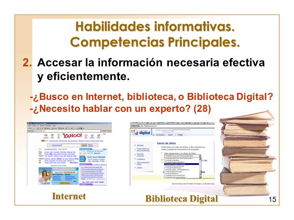 Habilidades informativas. Competencias Principales. 2.Accesar la información necesaria efectiva y eficientemente. -¿Busco en Internet, biblioteca, o B