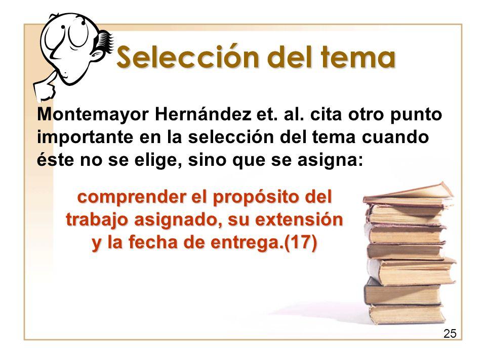 Selección del tema Montemayor Hernández et. al. cita otro punto importante en la selección del tema cuando éste no se elige, sino que se asigna: compr