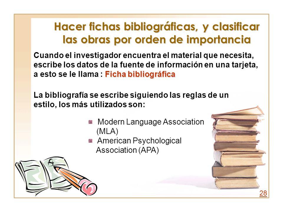Hacer fichas bibliográficas, y clasificar las obras por orden de importancia Ficha bibliográfica Cuando el investigador encuentra el material que nece