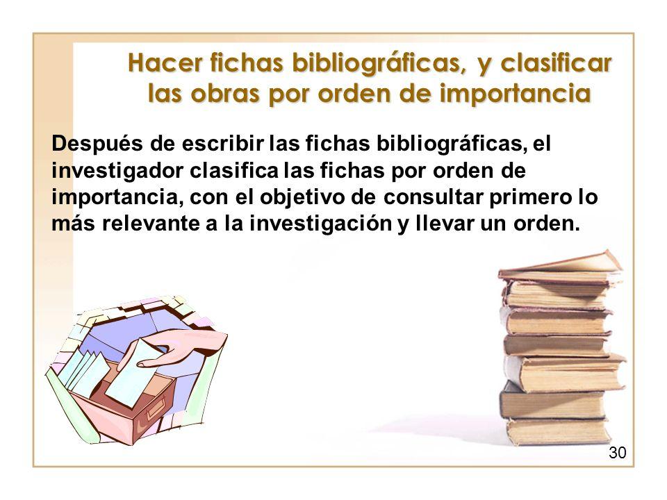 Hacer fichas bibliográficas, y clasificar las obras por orden de importancia Después de escribir las fichas bibliográficas, el investigador clasifica