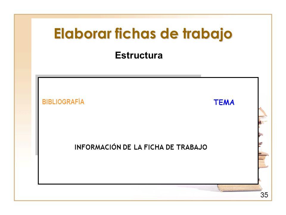 Elaborar fichas de trabajo Estructura BIBLIOGRAFÍA TEMA INFORMACIÓN DE LA FICHA DE TRABAJO 35