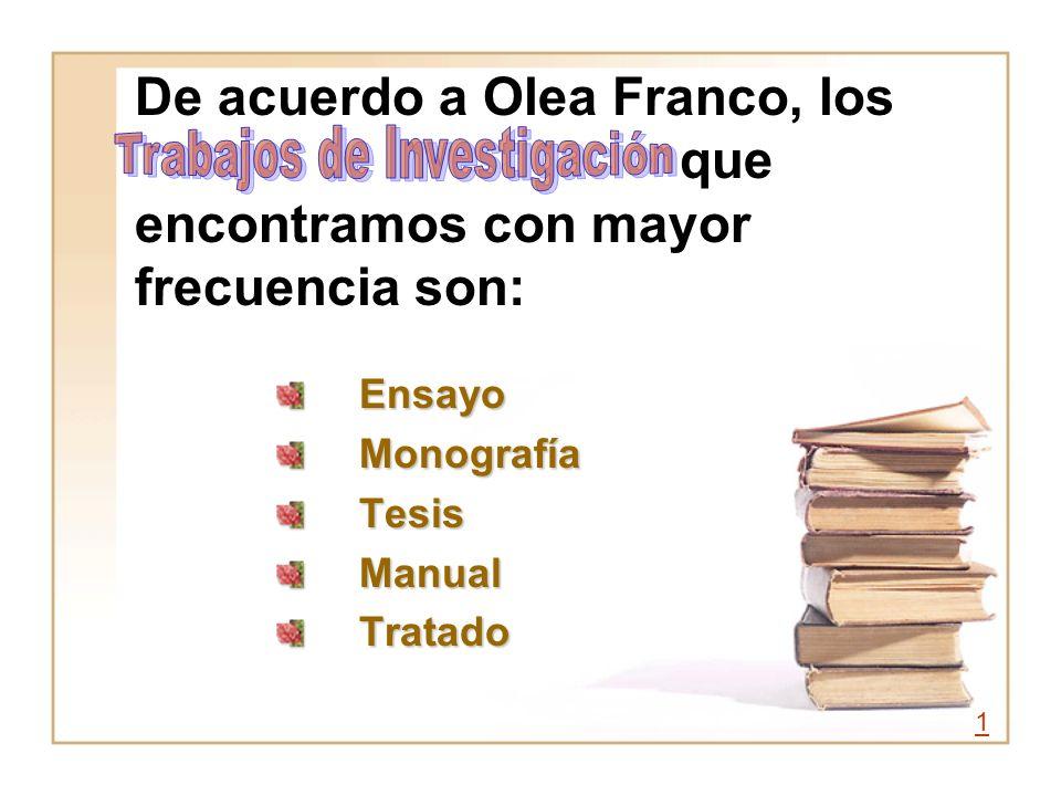 De acuerdo a Olea Franco, los que encontramos con mayor frecuencia son: EnsayoMonografíaTesisManualTratado 1