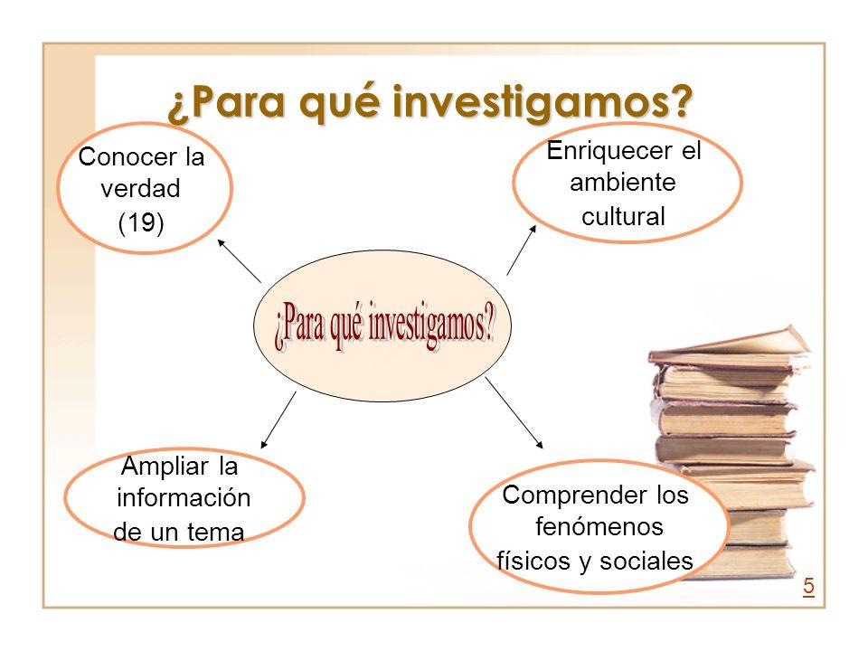 ¿Para qué investigamos? Conocer la verdad (19) Ampliar la información de un tema Comprender los fenómenos físicos y sociales Enriquecer el ambiente cu