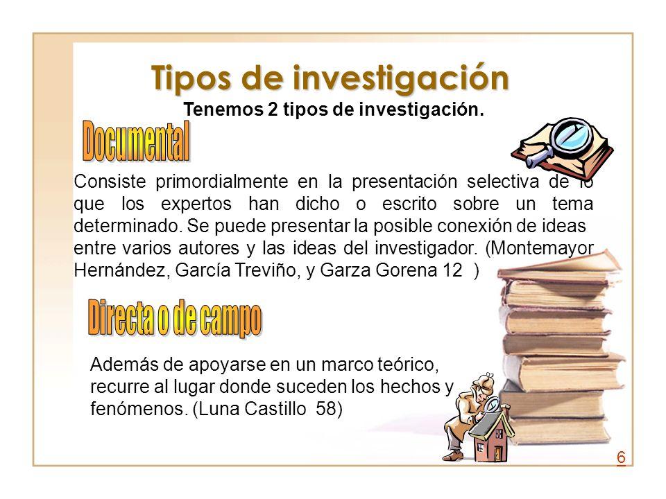 Tipos de investigación Consiste primordialmente en la presentación selectiva de lo que los expertos han dicho o escrito sobre un tema determinado. Se