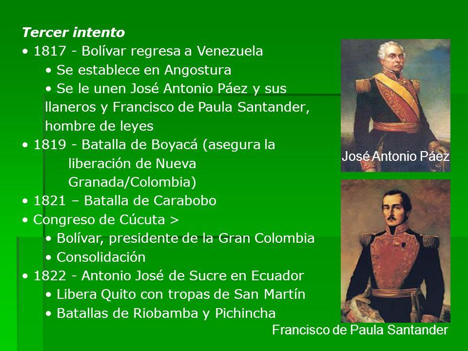 Tercer intento 1817 - Bolívar regresa a Venezuela Se establece en Angostura Se le unen José Antonio Páez y sus llaneros y Francisco de Paula Santander