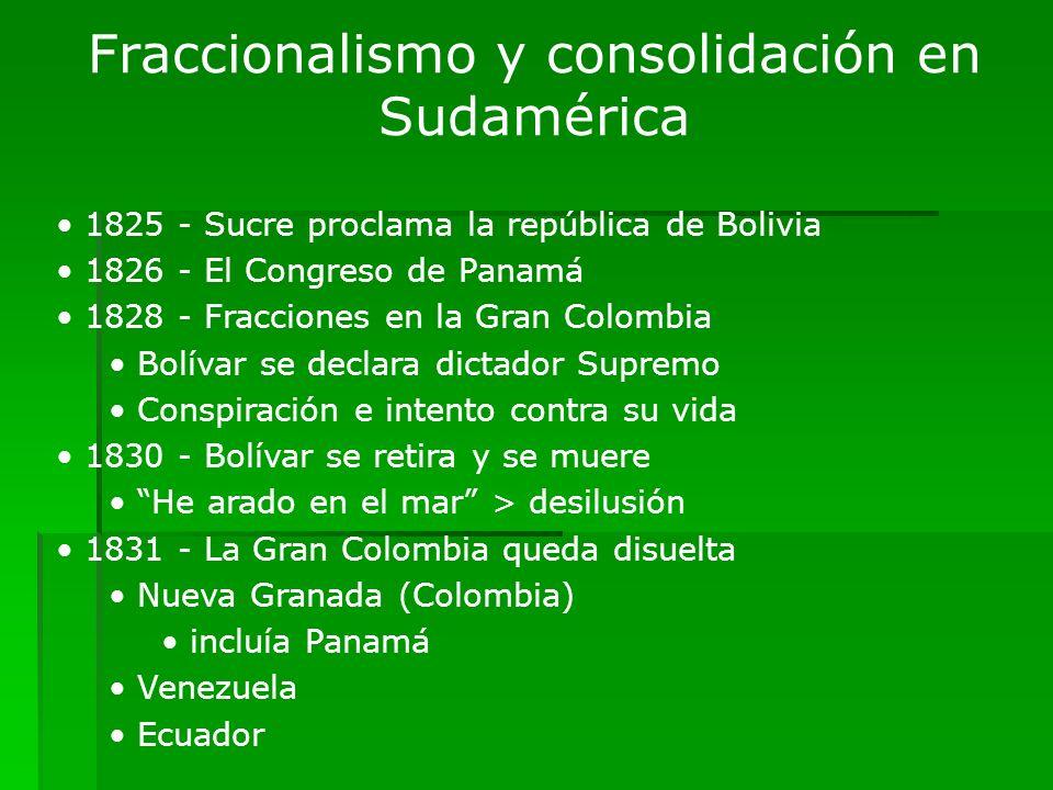 Fraccionalismo y consolidación en Sudamérica 1825 - Sucre proclama la república de Bolivia 1826 - El Congreso de Panamá 1828 - Fracciones en la Gran C