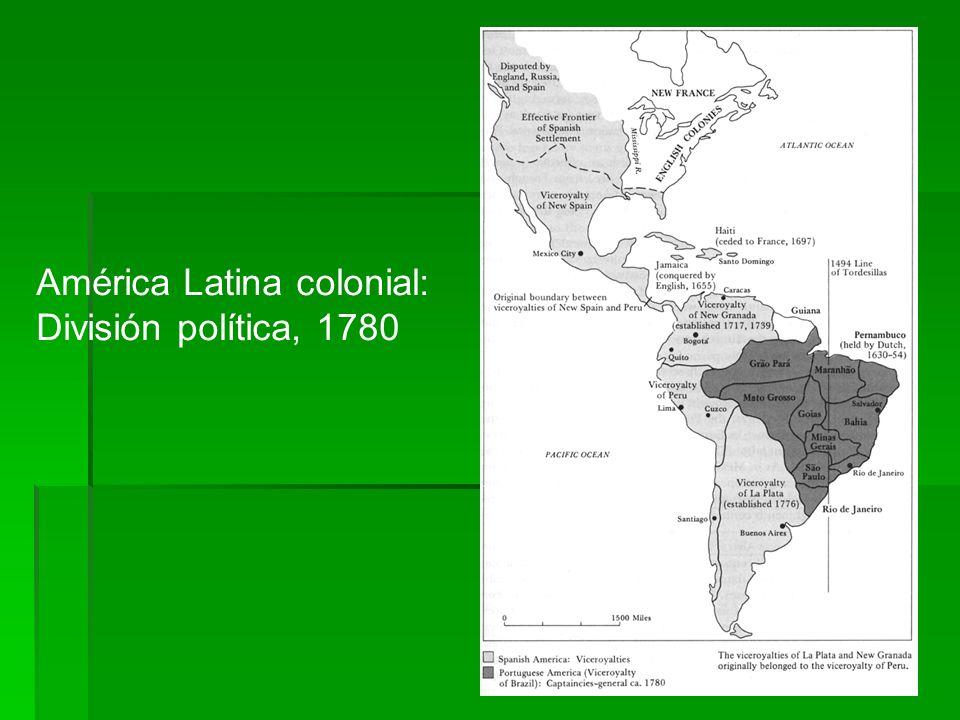 América Latina colonial: División política, 1780