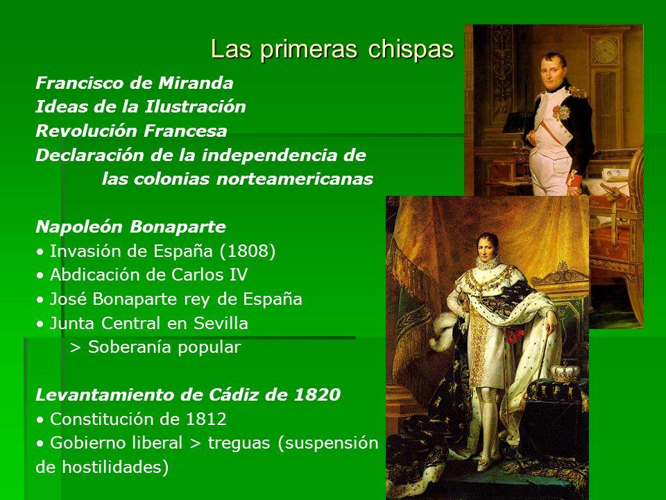 Las primeras chispas Francisco de Miranda Ideas de la Ilustración Revolución Francesa Declaración de la independencia de las colonias norteamericanas