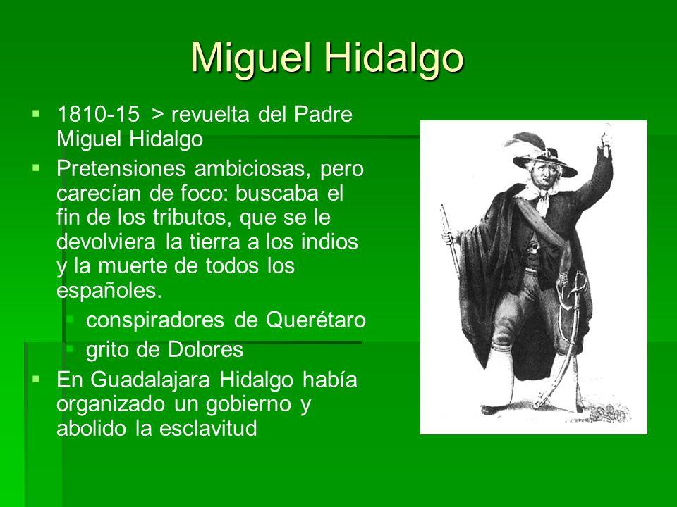 Miguel Hidalgo 1810-15 > revuelta del Padre Miguel Hidalgo Pretensiones ambiciosas, pero carecían de foco: buscaba el fin de los tributos, que se le d