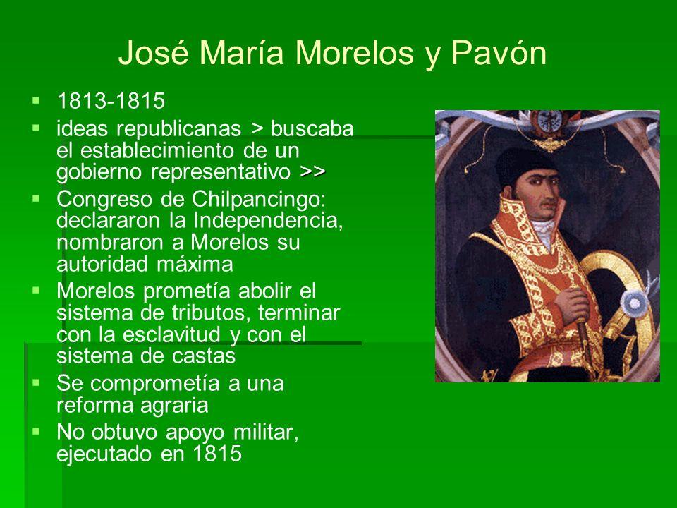 1813-1815 >> ideas republicanas > buscaba el establecimiento de un gobierno representativo >> Congreso de Chilpancingo: declararon la Independencia, n