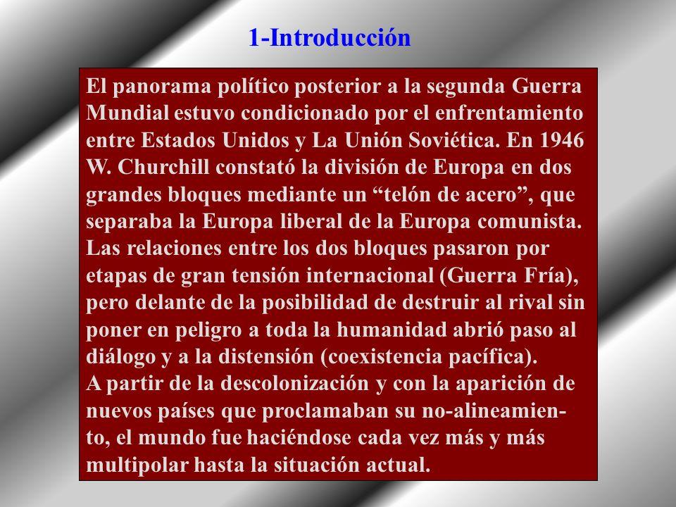 La Guerra Fría y la política de bloques (1945-1989) 1-Introducción 2-La formación de un mundo bipolar 3-Los conflictos de la Guerra Fría 4-Los años de