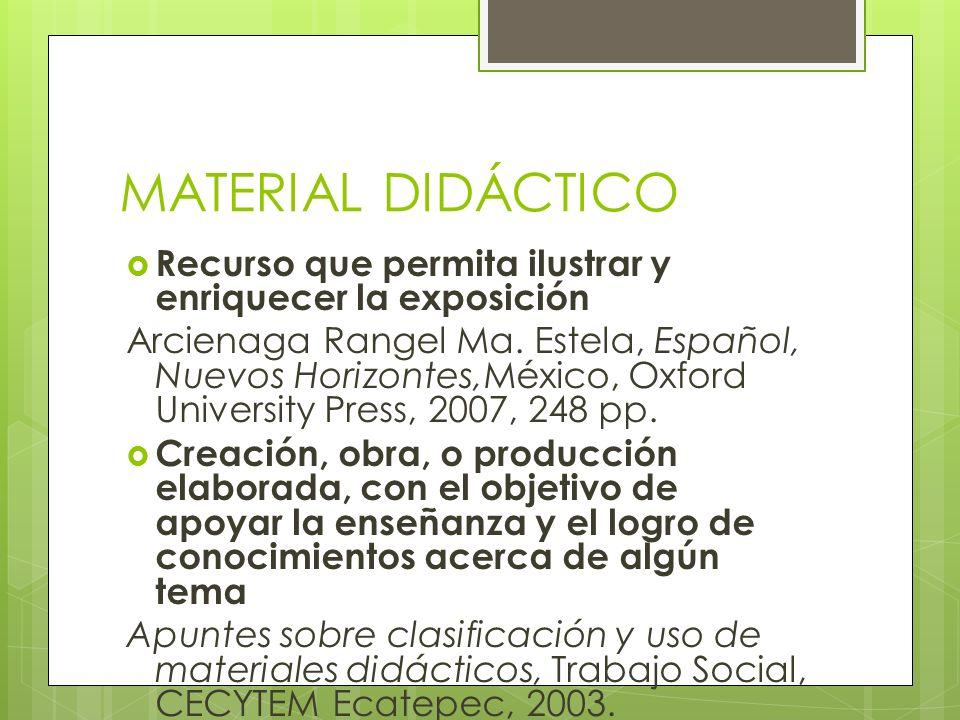 MATERIAL DIDÁCTICO Recurso que permita ilustrar y enriquecer la exposición Arcienaga Rangel Ma. Estela, Español, Nuevos Horizontes,México, Oxford Univ