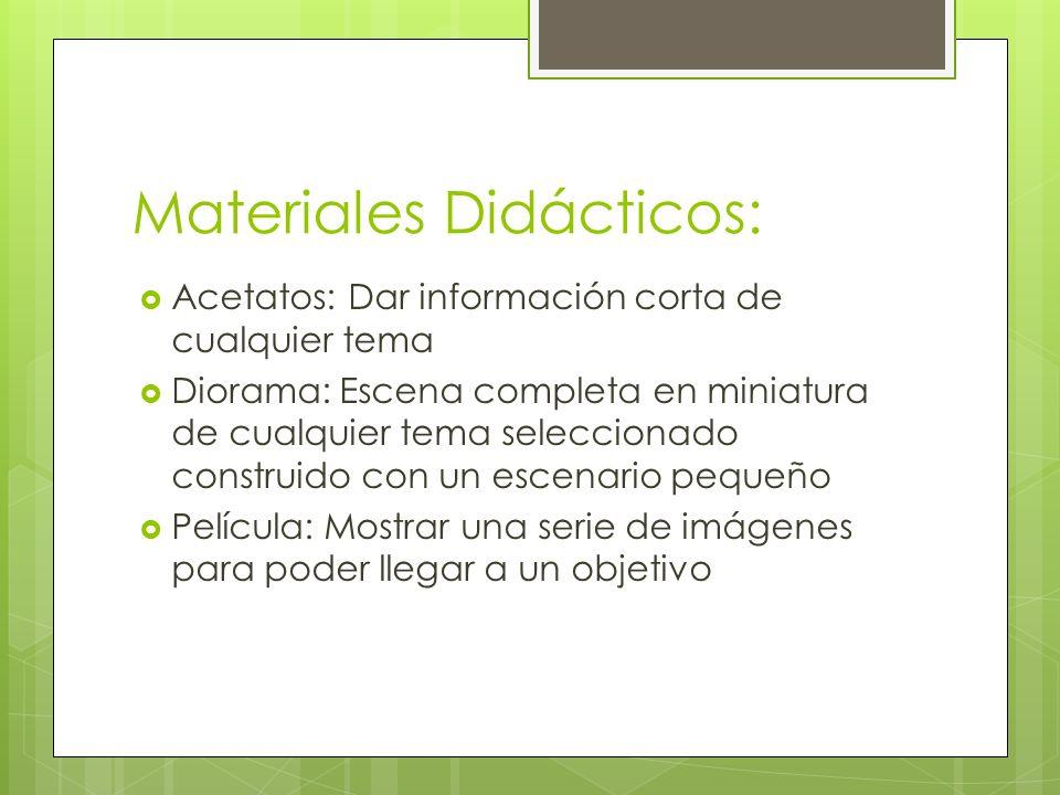 Materiales Didácticos: Acetatos: Dar información corta de cualquier tema Diorama: Escena completa en miniatura de cualquier tema seleccionado construi