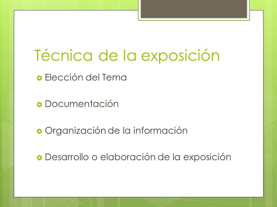 Técnica de la exposición Elección del Tema Documentación Organización de la información Desarrollo o elaboración de la exposición
