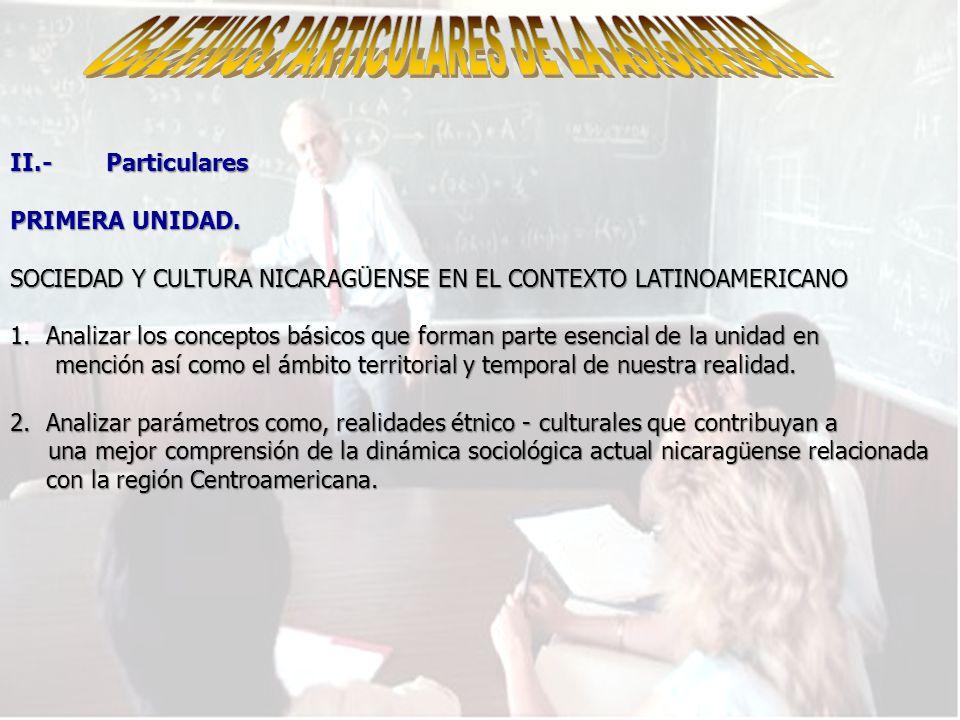 II.-Particulares PRIMERA UNIDAD.