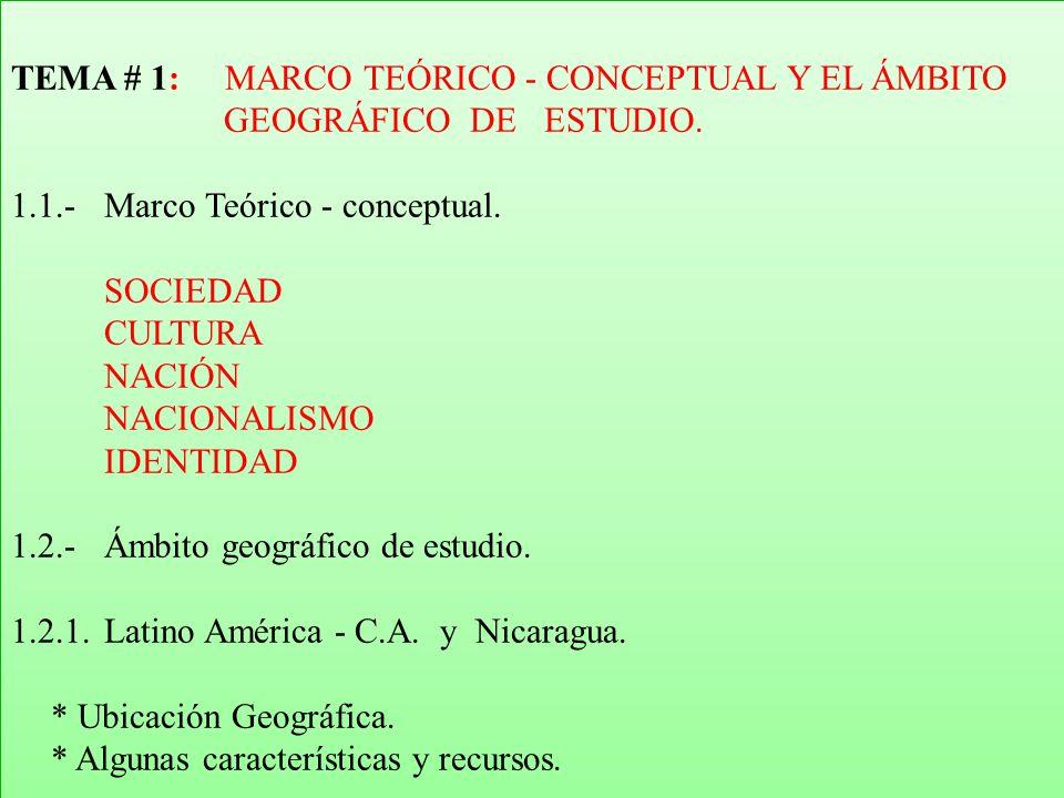 Ir a Inicio TEMA # 1: MARCO TEÓRICO - CONCEPTUAL Y EL ÁMBITO GEOGRÁFICO DE ESTUDIO.