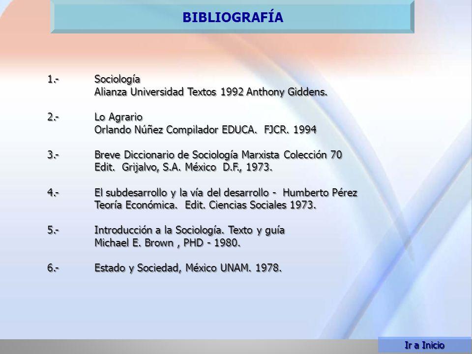 PLAN TEMÁTICO BIBLIOGRAFÍA Ir a Inicio 1.-Sociología Alianza Universidad Textos 1992 Anthony Giddens.