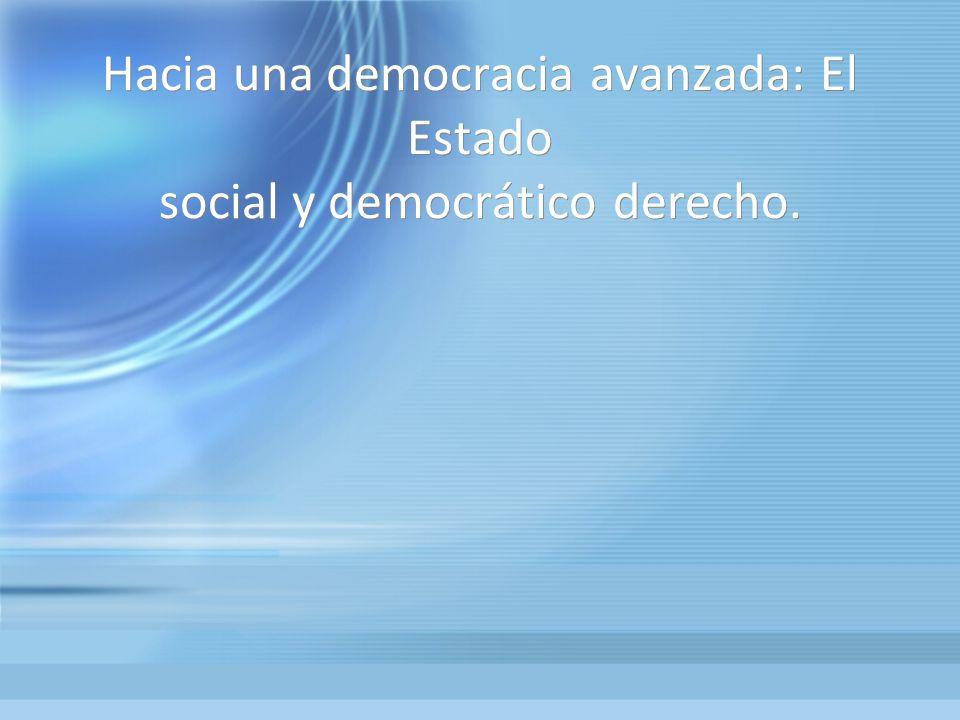Hacia una democracia avanzada: El Estado social y democrático derecho.