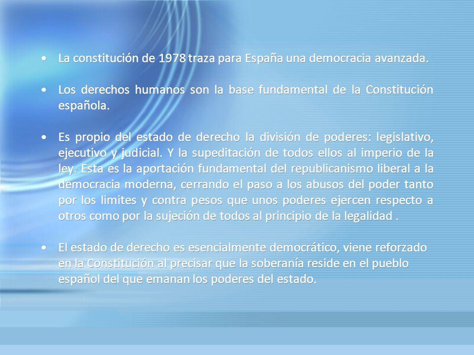 La constitución de 1978 traza para España una democracia avanzada. Los derechos humanos son la base fundamental de la Constitución española. Es propio