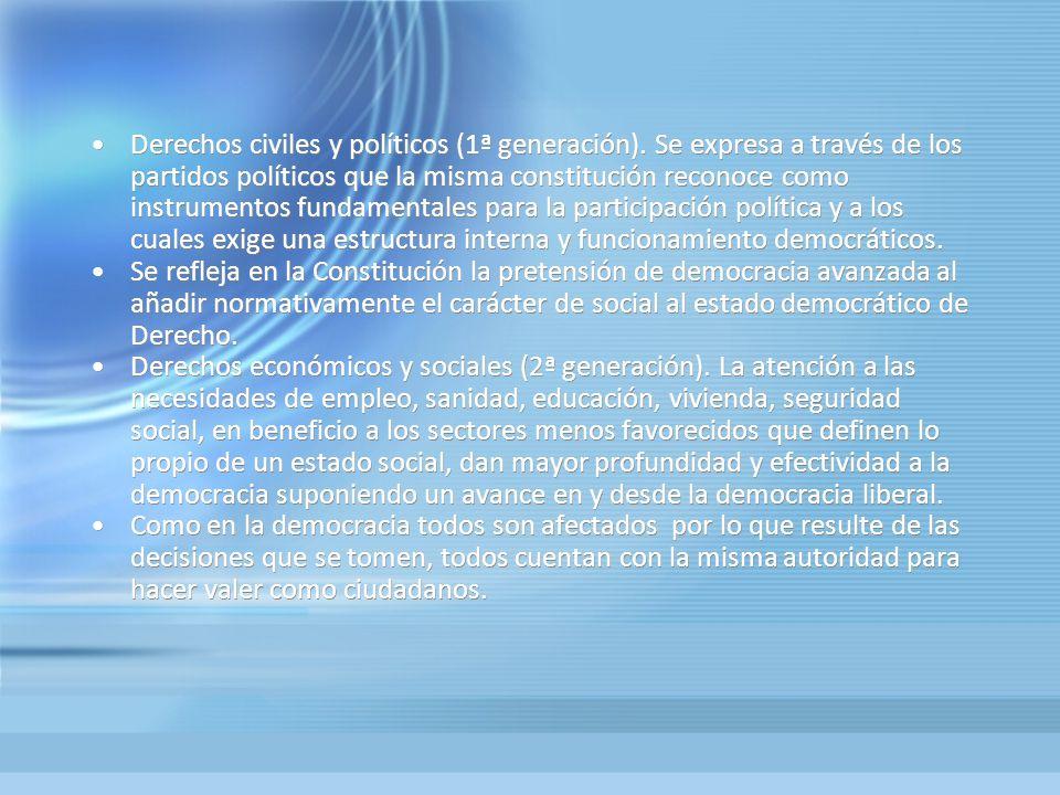 Derechos civiles y políticos (1ª generación). Se expresa a través de los partidos políticos que la misma constitución reconoce como instrumentos funda