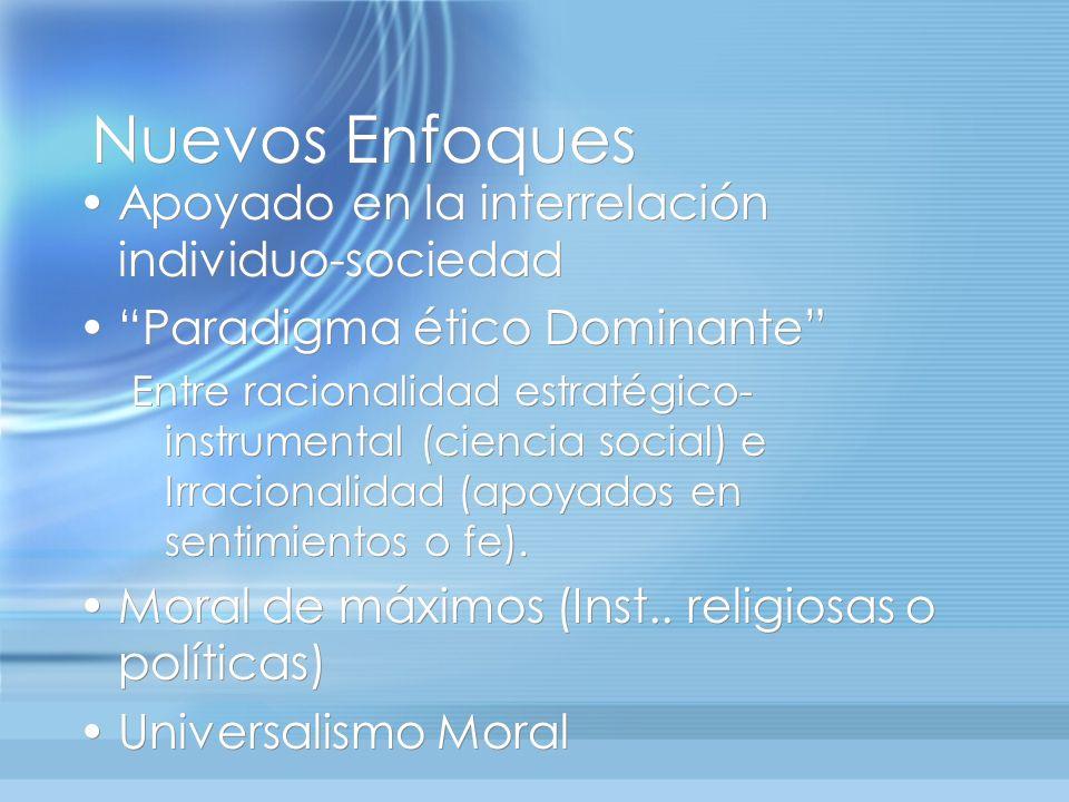 Nuevos Enfoques Apoyado en la interrelación individuo-sociedad Paradigma ético Dominante Entre racionalidad estratégico- instrumental (ciencia social)