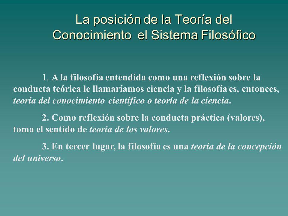 La posición de la Teoría del Conocimiento el Sistema Filosófico 1. A la filosofía entendida como una reflexión sobre la conducta teórica le llamaríamo