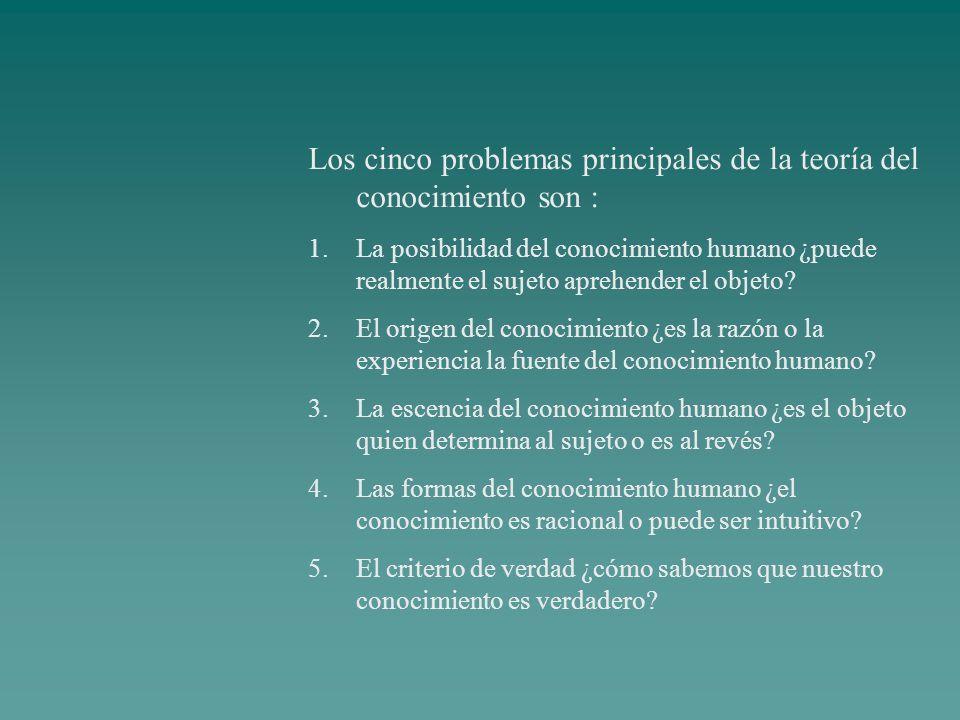 Los cinco problemas principales de la teoría del conocimiento son : 1.La posibilidad del conocimiento humano ¿puede realmente el sujeto aprehender el