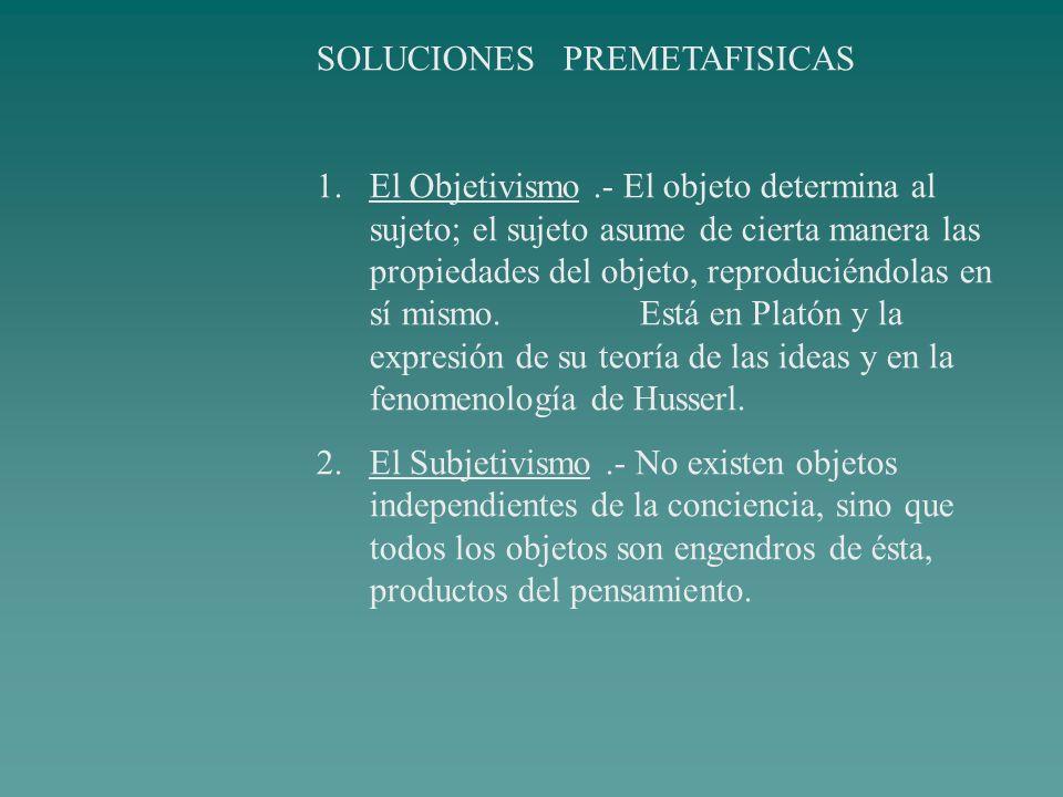 SOLUCIONES PREMETAFISICAS 1.El Objetivismo.- El objeto determina al sujeto; el sujeto asume de cierta manera las propiedades del objeto, reproduciéndo
