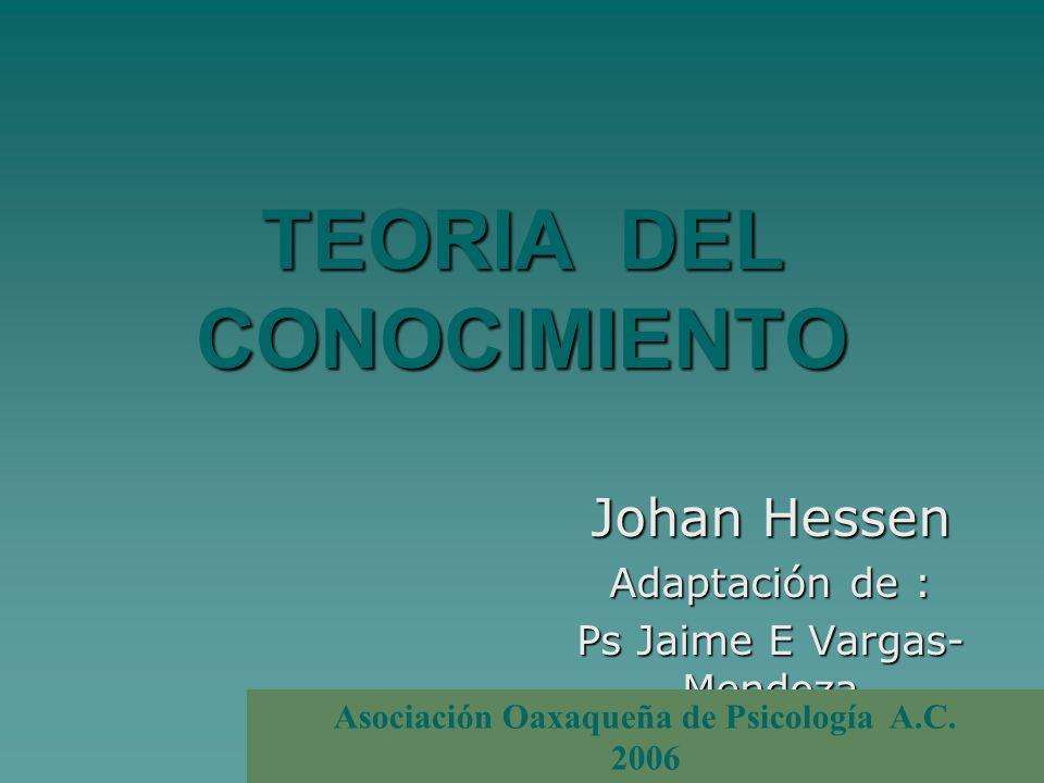 TEORIA DEL CONOCIMIENTO Johan Hessen Adaptación de : Ps Jaime E Vargas- Mendoza Asociación Oaxaqueña de Psicología A.C. 2006