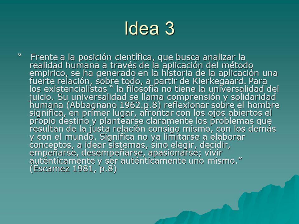 Idea 3 Frente a la posición científica, que busca analizar la realidad humana a través de la aplicación del método empirico, se ha generado en la híst