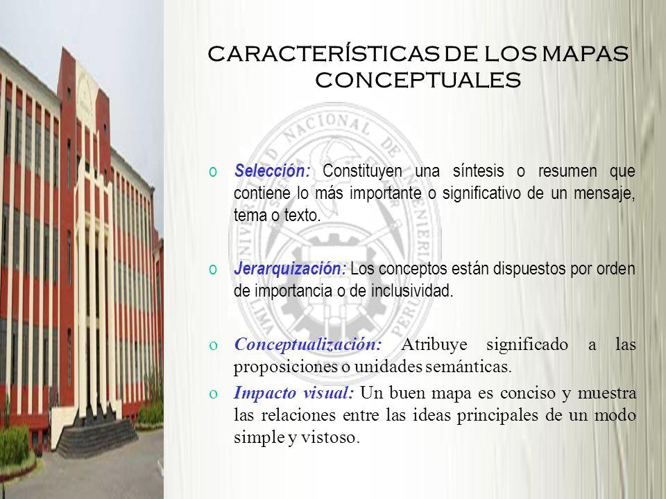 CARACTERÍSTICAS DE LOS MAPAS CONCEPTUALES o Selección: Constituyen una síntesis o resumen que contiene lo más importante o significativo de un mensaje