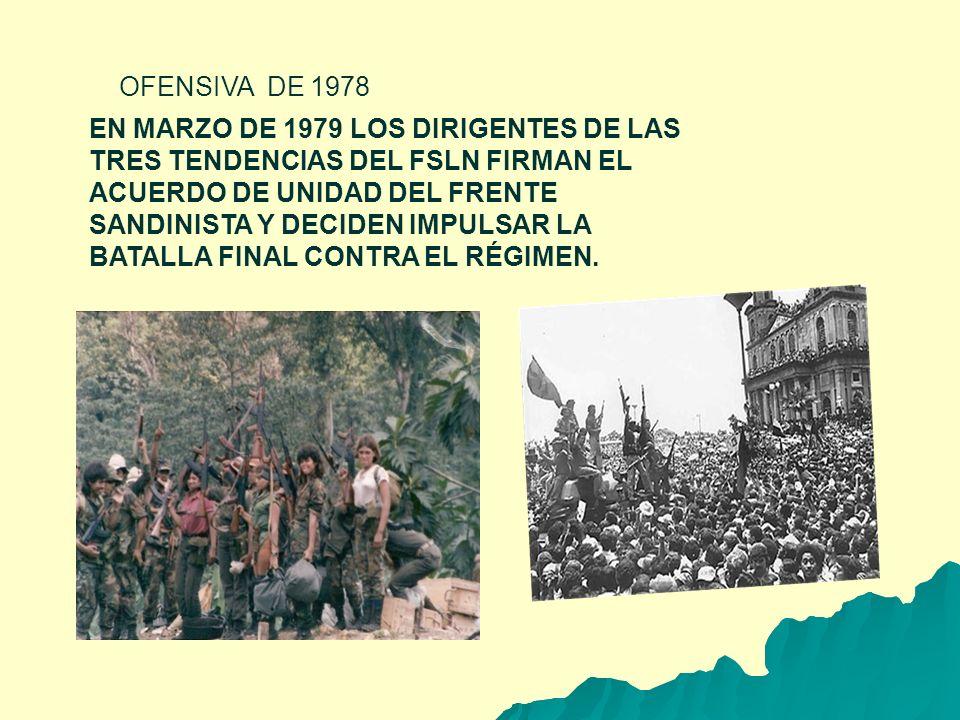 OFENSIVA DE 1978 EN MARZO DE 1979 LOS DIRIGENTES DE LAS TRES TENDENCIAS DEL FSLN FIRMAN EL ACUERDO DE UNIDAD DEL FRENTE SANDINISTA Y DECIDEN IMPULSAR