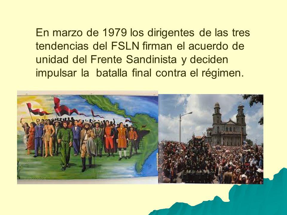 En marzo de 1979 los dirigentes de las tres tendencias del FSLN firman el acuerdo de unidad del Frente Sandinista y deciden impulsar la batalla final