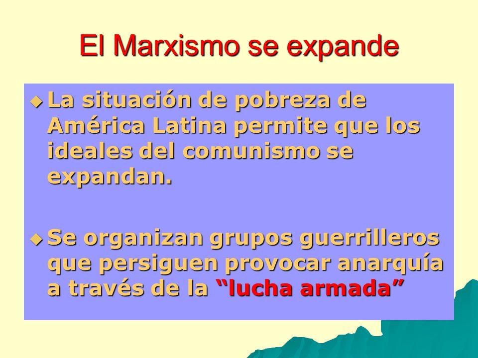 El Marxismo se expande La situación de pobreza de América Latina permite que los ideales del comunismo se expandan. La situación de pobreza de América