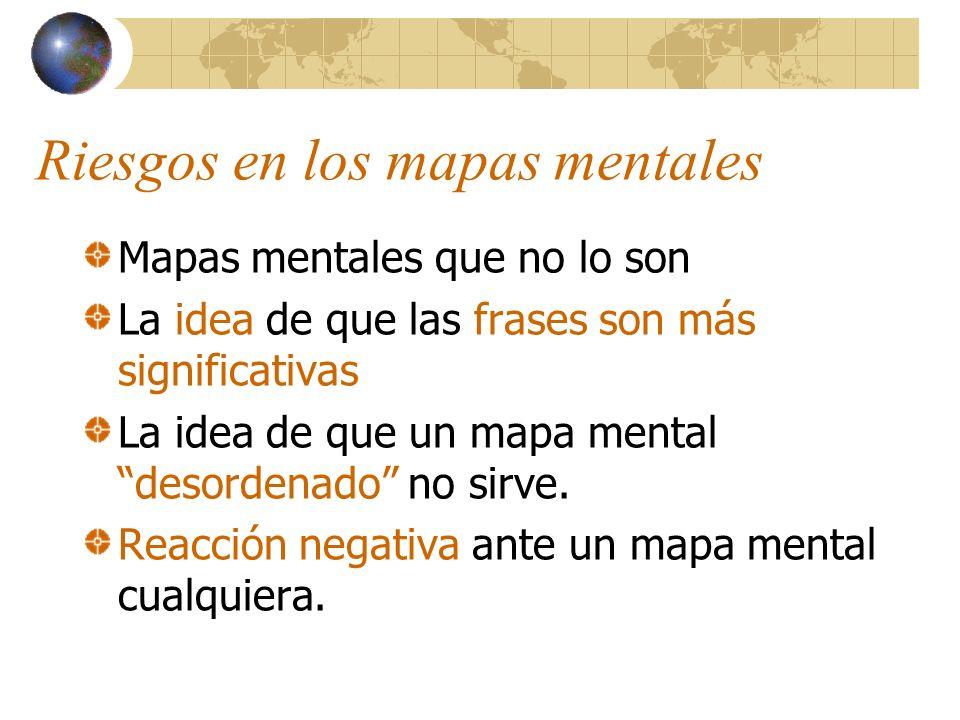 Riesgos en los mapas mentales Mapas mentales que no lo son La idea de que las frases son más significativas La idea de que un mapa mental desordenado