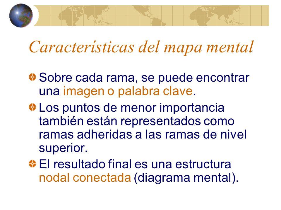 Características del mapa mental Toma en cuenta la manera como el cerebro recolecta, procesa y almacena información.