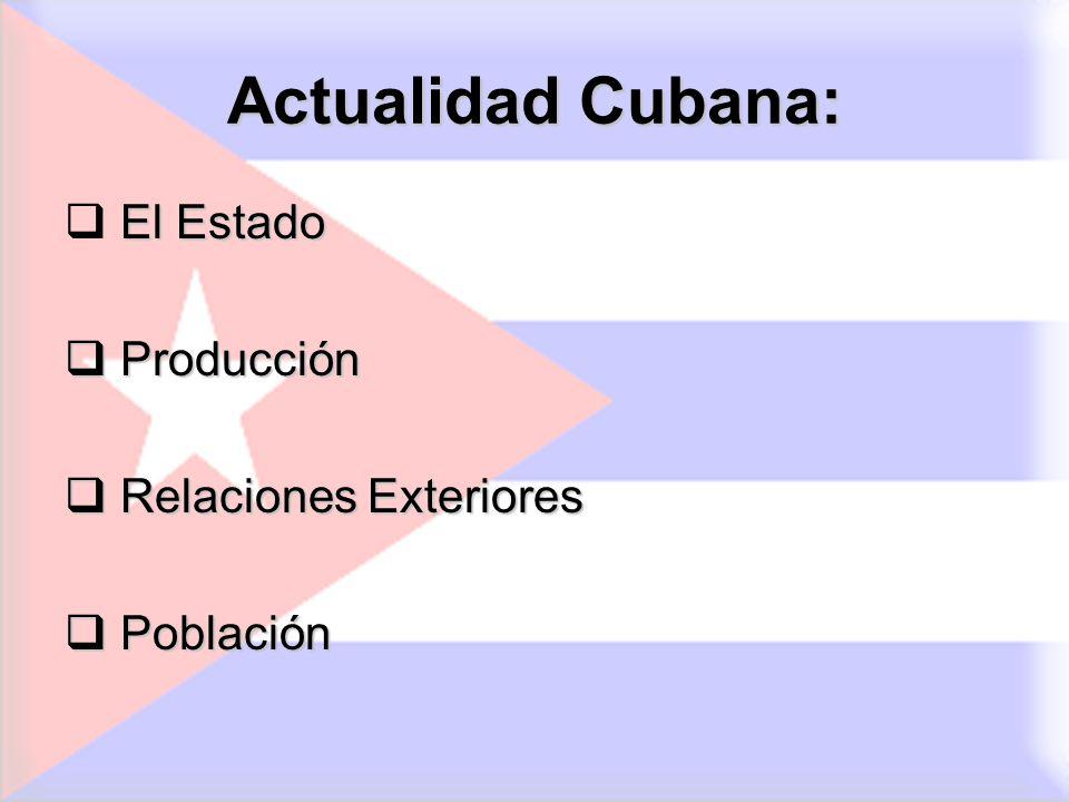 Actualidad Cubana: El Estado Producción Producción Relaciones Exteriores Relaciones Exteriores Población Población