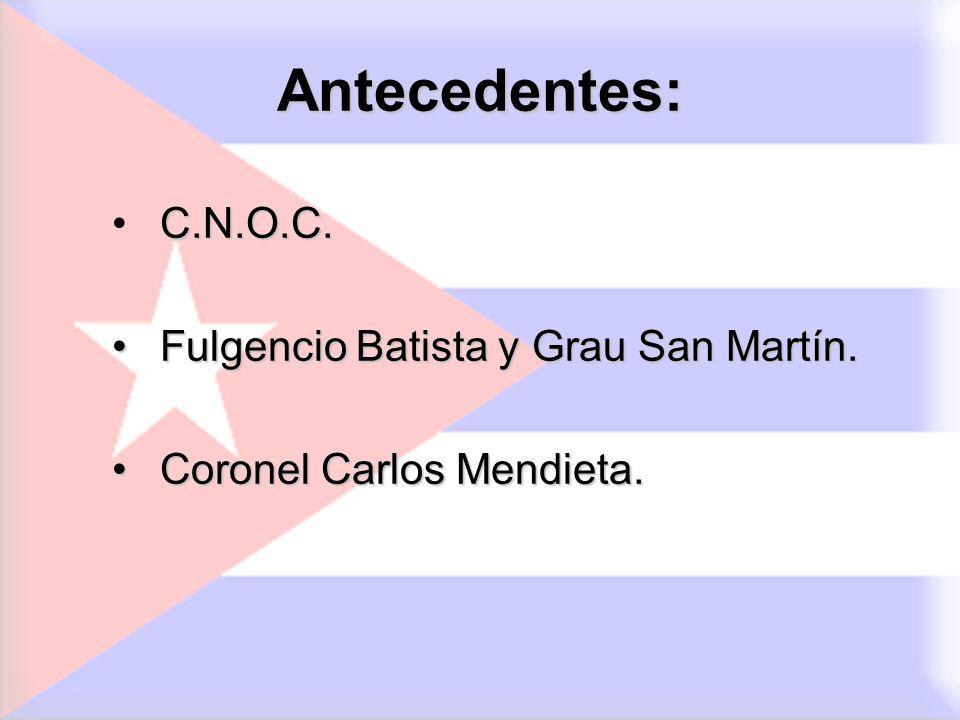 Antecedentes: C.N.O.C. Fulgencio Batista y Grau San Martín. Fulgencio Batista y Grau San Martín. Coronel Carlos Mendieta. Coronel Carlos Mendieta.