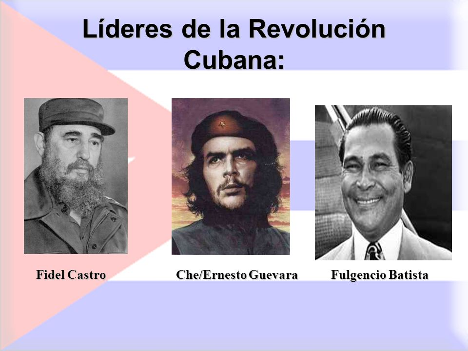 Líderes de la Revolución Cubana: Fidel Castro FulgencioBatista Fulgencio Batista Che/Ernesto Guevara