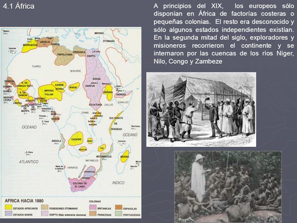 A principios del XIX, los europeos sólo disponían en África de factorías costeras o pequeñas colonias. El resto era desconocido y sólo algunos estados