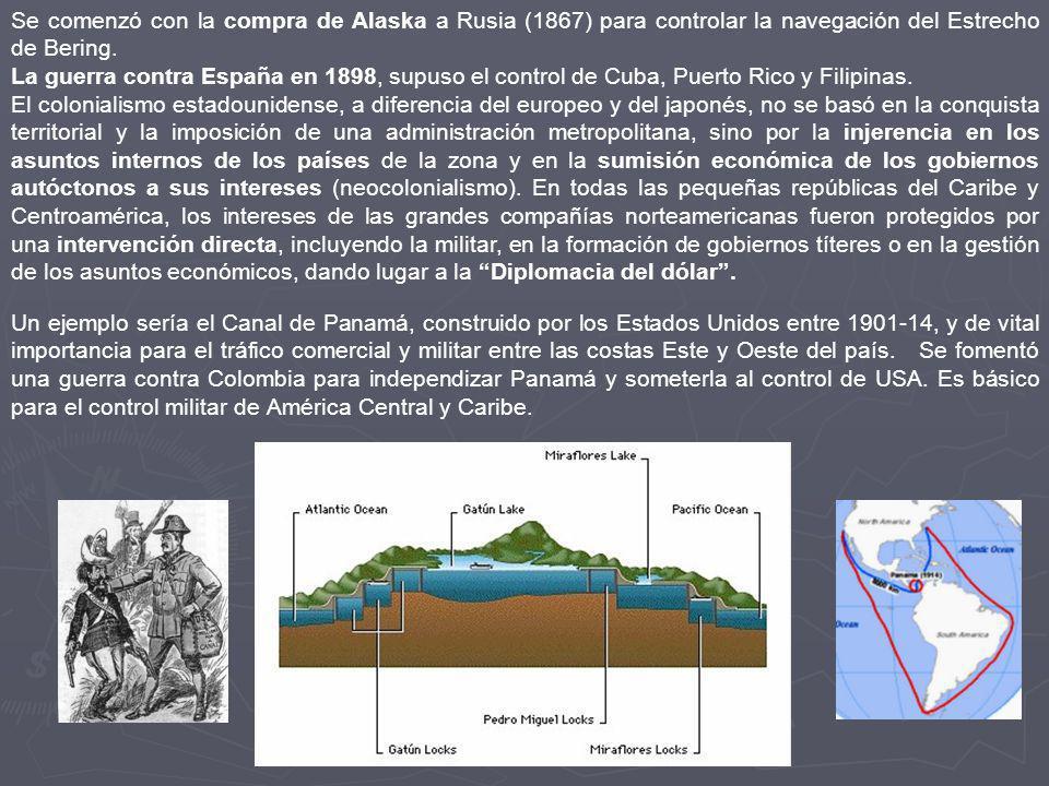 Se comenzó con la compra de Alaska a Rusia (1867) para controlar la navegación del Estrecho de Bering. La guerra contra España en 1898, supuso el cont