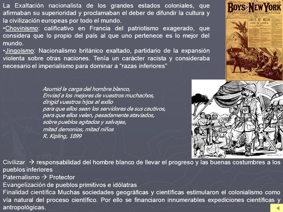 Exaltación nacionalista La Exaltación nacionalista de los grandes estados coloniales, que afirmaban su superioridad y proclamaban el deber de difundir