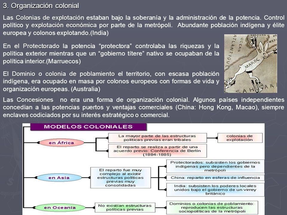 3. Organización colonial Colonias de explotación explotación económica Las Colonias de explotación estaban bajo la soberanía y la administración de la